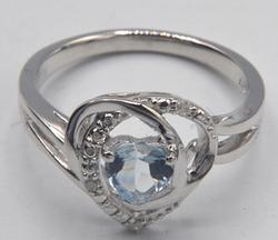 Sterling Aquamarine and Diamond Heart Ring
