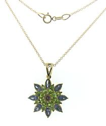 Fantastic Lolite, Peridot and Amethyst Necklace