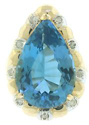 Pretty Large Blue Topaz and Diamond Ring