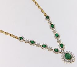 Spectacular Emerald & Diamond Halo & Cluster Necklace