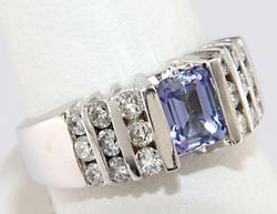 Shimmering Tanzanite & RBC Channel Set Ring