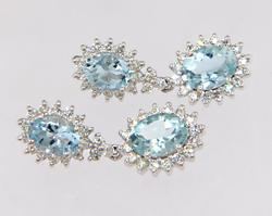 Sparkling Aquamarine & Diamond Dangle Earrings