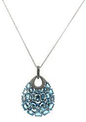 Stylish Blue Topaz and Diamond Teardrop Necklace