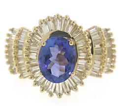 Masterpiece Oval Tanzanite & Diamond Halo Baguette Ring