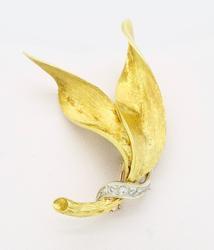18K Yellow Gold Leaf Brooch