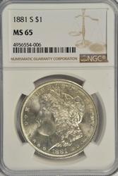 Gorgeous Gem BU 1881-S Morgan Silver Dollar. NGC MS65