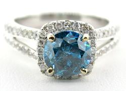 Fancy 14KT Blue Diamond Ring