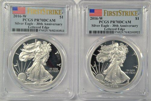 2 Scarcer 2016-W LETTERED EDGE $1 Eagles. PCGS PR70DCAM