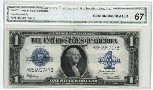 Superb Gem CU 1923 Series $1 Silver Certificate. CGA-67