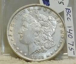 1885 Morgan  Dollar, circulated, original, near Unc