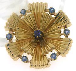Fancy Sapphire Ribbed Circle Pin