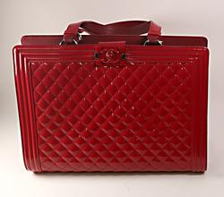 Authentic Chanel Boy Shopping Tote Pat Red Leather Bag