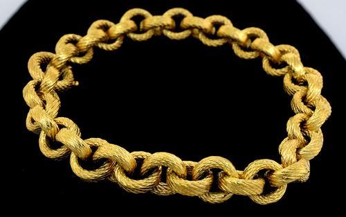 Textured Ladies 18KT Yellow Gold Bracelet