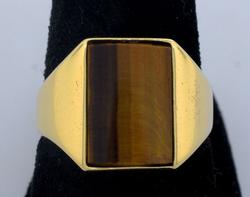 Men's Tiger Eye Ring, 14KT