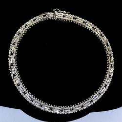 14KT white Gold Chain link Bracelet, 8 1/2 inches