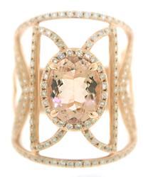 Fabulous Morganite and Diamond Open Wide Ring