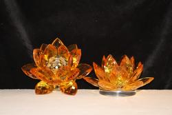 Crystal Gold Lotus Candleholder - Set of 2