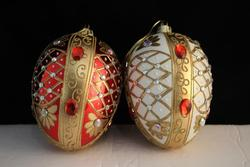 Beaded Ornament Red & White - Set of 2