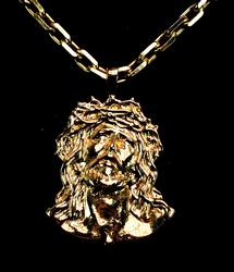 Large Jesus Pendant with Chain in 14KT Gold