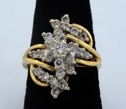 Diamond Cluster Ring, 14KT Yellow Gold