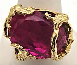 14KT YELLOW GOLD PINK SAPPHIRE FREE STYLER DESIGN RING.