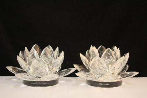 Clear Lotus Pair Candle Sticks