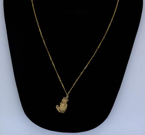 14KT Figaro Chain with Cat Pendant