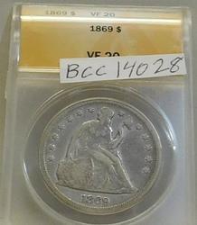 1869 Seated Dollar ANACS VF-20, Civil War era date