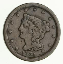 1851 Braided Hair Half Cent - Circulated
