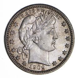 1909 Barber Head Silver Quarter - Uncirculated