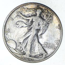 1929-D Walking Liberty Silver Half Dollar - Circulated