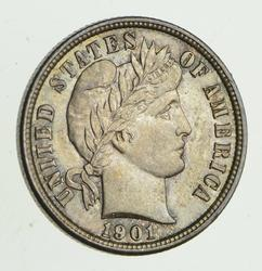 1901 Barber Head Silver Dime - Uncirculated