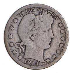 1914-S Barber Head Silver Quarter - Circulated