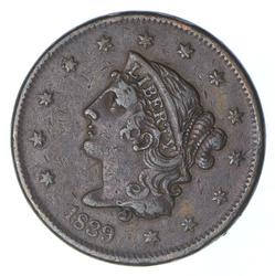 1839 Young Head Large Cent - Booby Head - Circulated