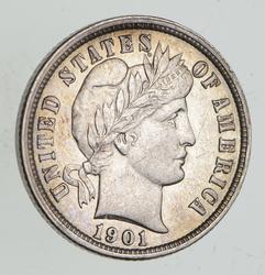 1901-O Barber Silver Dime - Choice