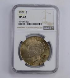 MS62 1922 Peace Silver Dollar - Beautiful Toned - Graded NGC