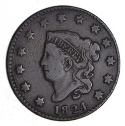 1824 Matron Head Large Cent - Circulated