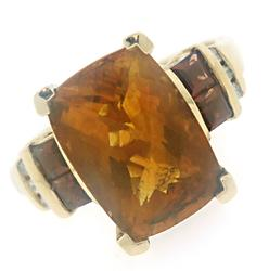 Beautiful Citrine, Garnet and Diamond Ring