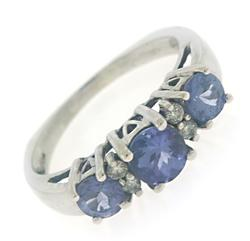 Stunning 3 Tanzanite and Diamond Band Ring