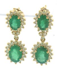 Significant Emerald & Diamond Double Halo Drop Earrings