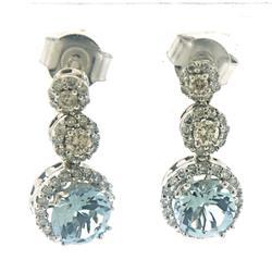 Fancy Aquamarine and Diamond Earrings