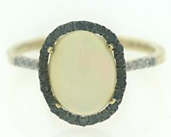 Beautiful Opal w White & Black Diamond Ring