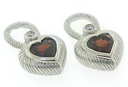 Judith Ripka Garnet Heart Charms Earrings