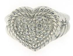 Judith Ripka CZ Pave Heart Ring
