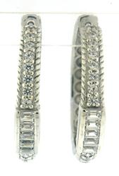 Judith Ripka Baguette & RBC CZ Hoop Earrings