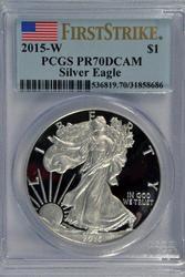 Flawless 2015-W $1 PRF Silver Eagle. PCGS PR70DCAM FS