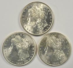 3 Super Choice BU 1881-S Morgan Silver Dollars