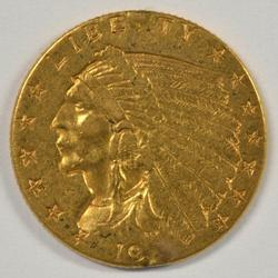 Attractive lustrous US $2.50 Indian Gold Piece 1908-1929