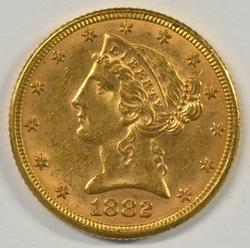 Well struck and lustrous 1882 $5 Liberty Gold Piece