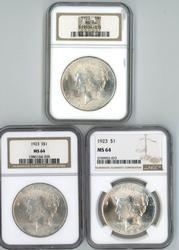 3 Nearly Gem BU 1923 Peace Silver Dollars. NGC MS64's